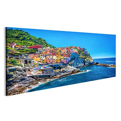 islandburner, Quadro su tela bellissimo paesaggio urbano colorato sulle montagne sul Mediterraneo Cinque Terre Europa Stampa, Foto, Quadri
