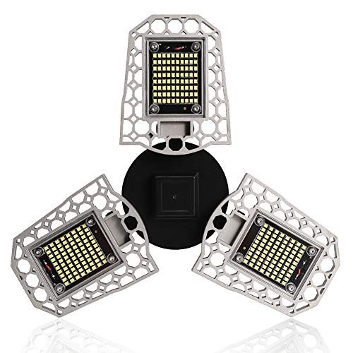 VOLADOR LED Garage Lights, 80W Garage Ceiling Lamp Deformable Shop Light for Garage Warehouse Workshop, Barn, Corridor, Basement(E26/E27, 7200lm, 6000K Cool White)