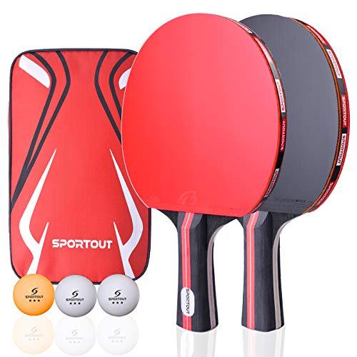 Easyroom Tischtennisschläger, Tischtennis Set, 2 Tischtennis-Schläger und 3 Tischtennis-Bälle(Logo von Sportout) (Beginner Play)