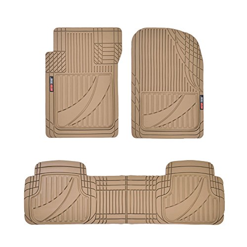 Motor Trend FlexTough Advanced Performance Rubber Floor Mats for Car SUV Auto Truck, 3pc Front & Rear Liner Set, All Weather Plus Protection, Beige (OF-793-BG)