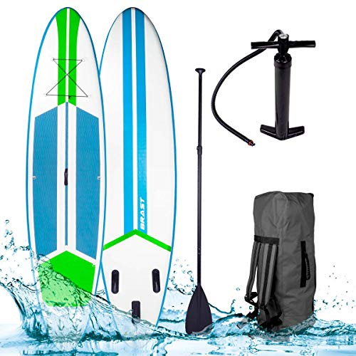 BRAST Stand up Paddle Gonflable Adulte Rigide Galaxy néon 10'6 20psi 120kg Drop Stitch tissé 15cm epaisseur kit Complet – Planche Gonflable Sup 320x76x15cm