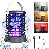 AMBOTHER Lampe Anti Moustique Electronique UV LED 2000V Efficace 60m² Répulsif Moustique Tueur Etanche IP66 Pièges à Insectes 3 Modes USB Rechargeable 2 en...