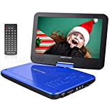 DBPOWER 12' Portable DVD Player with 5-Hour Rechargeable Battery, 10' Swivel Display Screen, SD Card Slot and USB Port, with 1.8 Meter Car Charger and Power Adaptor, Region Free- Blue