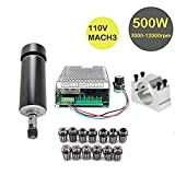 Konmison 1Set Mini CNC Lathe Air Cooled 500W Spindle Motor CNC 0.5KW with 52mm Clamps and 110V Mach3 Power Converter Spindle + 13pcs ER11