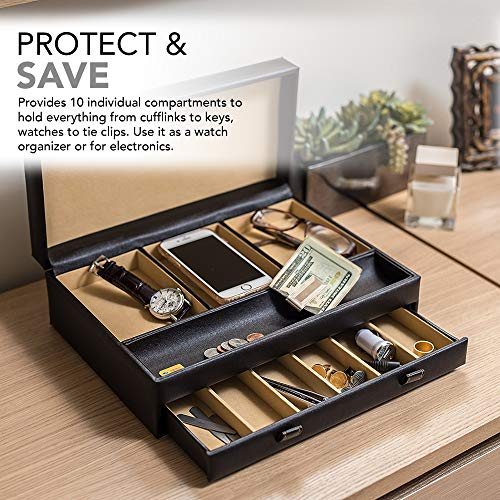 Product Image 8: Stock Your Home Watch Box with Valet Drawer for Dresser - Mens Jewelry Box with Multiple Compartments - Jewelry Case Display Organizer for Mens Jewelry Watches, Men's Storage Boxes Holder