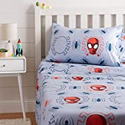 Make bedtime fun with playful bed sheets featuring Marvel's Spiderman Adds a colorful design element to your child's bedroom with familiar character images that they'll love Velvety-soft 100% microfiber construction keeps them cozy and warm Twin shee...