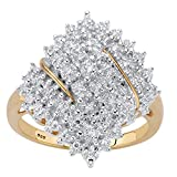 18K Yellow Gold over Sterling Silver Round Genuine Diamond Cluster Ring (1/4 cttw, I Color, I3...