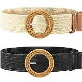 Cinturn elstico trenzado de paja con hebilla de estilo madera para mujer, 2 unidades - Multi color -...
