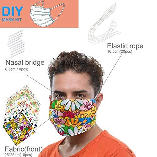 Xunmowei, set di 10 teli quadrati per la copertura del viso, 10 strisce in metallo, 10 pezzi di panno filtrante in tessuto bianco e 20 fasce elastiche per auricolari Materiale a strato singolo.