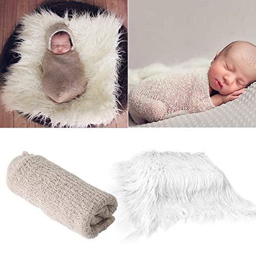 2Pcs Baby Newborn Photo Props Wraps & Photography Mat, DIY Newborn Baby Photo Blanket Swaddle Photography Props Wraps, Infant Soft Faux Fur Photography Backdrops Mat Rug for Baby Boys Girls