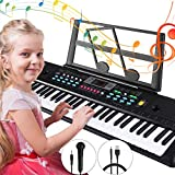 Tencoz Electronic Keyboard Piano 61 Key, Portable Piano Keyboard with Music Stand, Microphone, Power Supply Digital Music Piano Keyboard for Kids