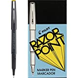 PILOT Razor Point Fine Line Marker Stick Pens, Ultra-Fine Point (0.3mm) Black Ink, 12 Count (11001)