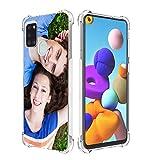 SHUMEI Coque personnalisée pour Samsung Galaxy A21S, photo personnalisée, absorption des chocs, coque transparente en TPU, image HD