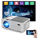 Mini Bluetooth Wireless Video Projectors Home Theater Cinema 720P Native,Built-in Android Os LCD LED Smart WiFi Projector Airplay for iPhone, HDMI USB Aux Audio VGA Multimedia TV Proyector 1080P