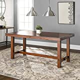 Walker Edison Furniture Company Rustic Farmhouse Wood Distressed Dining Room Table with Expandable Leaf, 60 Inch, 6-8 Person, Oak Brown