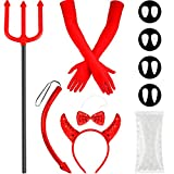 Halloween Devil Costume Set, Sequin Devil Horns Hairband, Bow Tie, Devil Tail, Red Gloves, Fake Vampire Teeth, Devil Pitchfork with Handle, Teeth Pellets for Halloween Theme Party Supplies