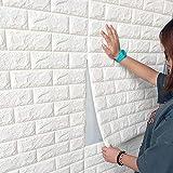 Lot de 10 panneaux muraux 3D autocollants aspect pierre 70 x 77 cm en mousse PE pour travaux manuels, papier peint mural, stickers muraux décoratifs (blanc)