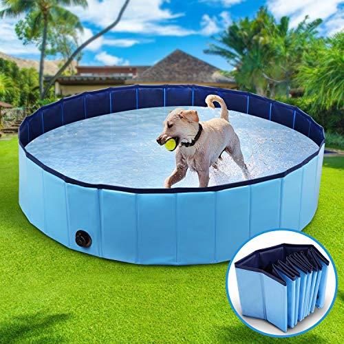 Winipet Hundepool Schwimmbad für Hunde, Hundeplanschbecken Hundebad, 120 * 30 cm Klappbares Haustier-Duschbecken mit Umweltfreundlichem PVC rutschfest