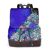 Yuanmeiju Womens Mochila de Cuero Beautiful Multicolor Kaleidoscope Texture Shoulder Schoolbag Casual Bag Girls