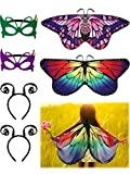 6 Pieces Butterfly Wings Costume with Mask Antenna Headband for Kids Halloween Party (Style 2)