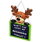 Officially Licensed Reindeer holding team-colored chalkboard Message to Santa with team logo display String tree hanger Height - Approximately 4 in