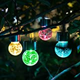 Solpex Hanging Solar Lights Outdoor,8 Pack Christmas Decorative Cracked Glass Ball Light, Solar Powered Waterproof Globe Lighting, Hanging Globe Solar Lights for Garden, Yard, Patio, Lawn, Flower Bed.