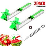 2 Packs Watermelon Windmill Cutter Slicer with 2 in 1 Melon Baller & Fruit Carver - Farielyn-X Auto Stainless Steel Melon Cuber Knife - Fun Fruit Vegetable Salad Quickly Cut Tool, Best Gift For Girls