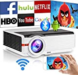6200 Lumen Wireless Smart LED Movie Projectors Support 1080P Home Theater Bluetooth Wifi witj HDMI USB Airplay Mirroring Digital HD LCD Video Projector for iOS/Android Games TV Phone Laptop DVD