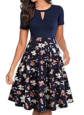 💓 FUNCTIONAL POCKETS AND FASHIONABLE KEYHOLE CUTOUT: This is women's vintage swing casual party cocktail dresses. Both sides have nice hidden pockets are great for carry your phone or useful items. Vintage pleated 1950s hepburn style, sexy keyhole cu...