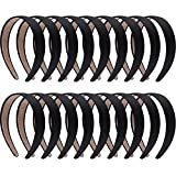 SIQUK 18 Pieces Satin Headbands Black Headband 1 Inch Non-slip Ribbon Hairband DIY Hair Headbands for Women and Girls
