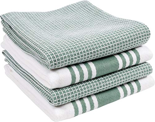 KAF Home Kitchen Towels, Set of 4 Absorbent, Durable and Soft Towels   Perfect for Kitchen Messes and Drying Dishes, 18 x 28 – Inches, Sage