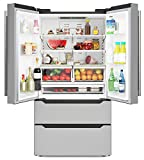 KoolMore RS-FR22 Counter Depth 22.5 Cu.Ft French Door Refrigerator with Automatic Ice Maker Stainless-Steel Fridge, Silver
