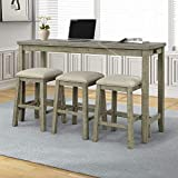Merax 4-Piece Counter Height Bar Table Set with Socket and Fabric Padded Stools, Rustic Bar Dining Set, Gray