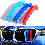 TOPGRIL M-Colored Stripe Grille Insert Trims M Sport M-Performance Grille Insert Trim Strips For 2013-2018 BMW F30 F31 3 Series 316i 318i 320i 328i 330i 335i 340i (8-Beams ONLY, Not for 11 Beams)