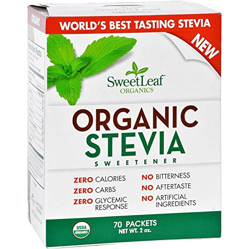 Sweet Leaf Sweetener - Organic - Stevia - 70Count- 95%+ Organic - Use SweetLeaf in place of sugar