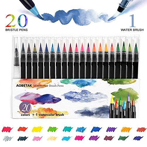 Brush Pen Set Pinselstifte,AOBETAK 20 Aquarellstifte + 1 Wasserpinsel,Weiche und Flexible Nylonspitze,Kalligraphie-Stift pinselstifte für Malbücher,Wasserfarben,Anfänger,Künstler,Erwachsene,Kinder