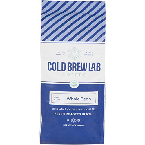 Cold Brew Lab Organic Whole Bean Coffee, 1 LB Bag, Dark Roast Colombian Supremo