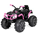 Best Choice Products 12V Kids Electric 4-Wheeler ATV Quad Ride On Car Toy w/ 3.7mph Max Speed, Treaded Tires, LED Headlights, AUX Jack, Radio - Black