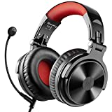 Bluetooth Over Ear Headphones, OneOdio Wired Gaming Stereo Headsets with Boom Mic for PS4, Xbox one, PC, Cell Phones, Office, Wireless Headset with 30 Hrs Playtime - Studio Wireless(Y80B) (Red)