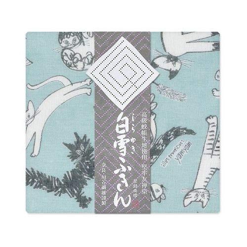 白雪 ふきん 日本製 猫柄 塩素系漂白剤可 しなやかな触感 みゃうみゃうみゃう ブルー