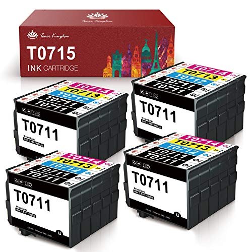 Toner Kingdom T0715 XL Cartucce Compatibili Epson T0711 T0712 T0713 T0714 per Epson Stylus SX218 SX200 SX205 SX100 SX105 SX400 D92 DX4000 DX7400 Office BX300F BX610FW (20 Pack)