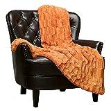 Chanasya Fuzzy Faux Fur Elegant Rectangular Embossed Throw Blanket - Plush Sherpa Pumpkin Microfiber Blanket for Bed Couch (50x65 Inches) Orange