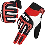 ILM Dirt Bike Motorcycle Gloves Unisex Fit BMX MX ATV MTB Racing Mountain Bike Motocross Outdoor Sports (Adult Size-Red, Adult-XXL)