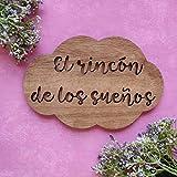 Placa cartel de madera en forma de nube personalizada con la frase que quieras, regalos originales y...