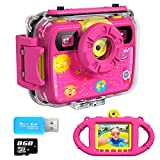 Ourlife Kids Camera, Selfie Waterproof Action Child Cameras,1080P 8MP 2.4 Inch Large Screen with 8GB SD Card for Children Toddler of Age 3,4,5,6+, Silicone Handle, Fill Light, 2019 Upgraded(PINK3)