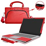 Lenovo IDEAPAD 110 15 Case,2 in 1 Accurately Designed Protective PU Leather Cover + Portable Carrying Bag for 15.6' Lenovo IDEAPAD 110 15 Series 110-15IBR 110-15ACL 110-15ISK Laptop,Red