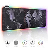 RGB Gaming Mouse Pad - Large Cool RGB Gaming Mouse Mat With Nylon Thread Stitched Edges & Smoothly Waterproof Non-Slip Rubber Base (31.5'X 11.8' with 14 Light Modes)