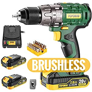 💡【Brushless Motor & Max 530In-lbs Torque】High performance brushless motor optimizes machine's efficiency. Compared with the brush motor, no sparks are generated during use, TECCPO brushless drill is safer, more high-performance, more durable.  530 in...