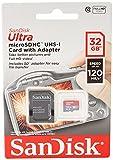 SanDisk Ultra 32 GB Tarjeta de Memoria microSDHC con Adaptador SD, hasta 120 MB/s, Rendimiento de...