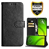Moto G7 Power Wallet Case,Moto G7 Optimo Maxx,Moto G7 Supra Case,PU Leather Magnetic Folio Flip Case Built-in Card Slots Full Body Protection Phone Case with Screen Protector for Moto g7 Power-Black